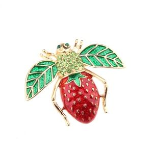 Jewelry - Bumble Bee Strawberry Crystal Brooch Pin